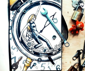 art, clock, and time image
