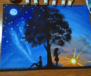 art, moon, and night image