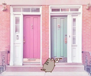 cat, pusheen, and pink image
