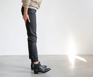 black boots, black jeans, and boots image