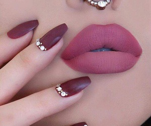 nails, lips, and piercing image