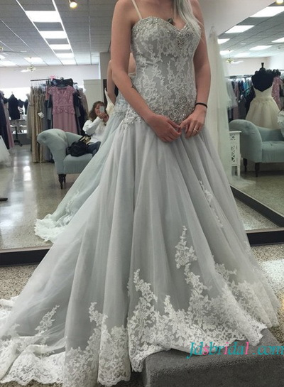 Plus Size Non White Gray Colored Tulle Wedding Dress With Straps For Second Marriages
