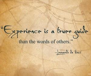 experience, Leonardo da Vinci, and quote image