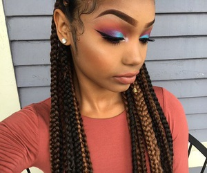 black girl, colorful, and braids image