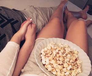 couples, popcorn, and cute image