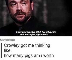 supernatural, crowley, and pigs image