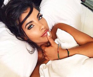 bed, brunette, and glam image