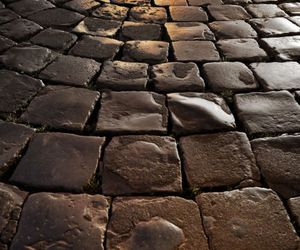 brown, cobblestones, and street image