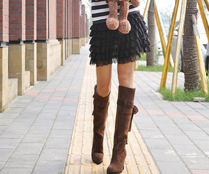 boots, brown, and korean fashion image