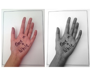 black, withe, and hand image