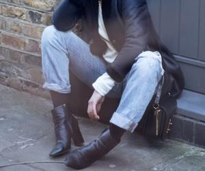 coat, girl, and street image