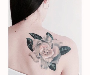 back tattoo, beauty, and rose tattoo image