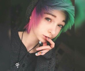 dyed hair, scene, and cute image