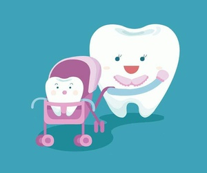 baby, mom, and tooth image