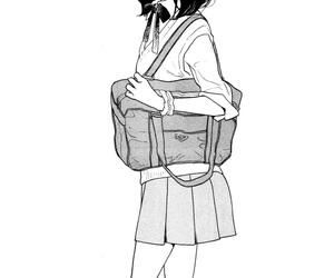girl, manga, and monochrome image