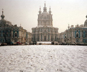 building, snow, and russia image