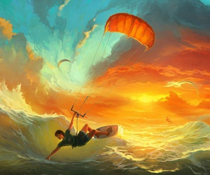 art, surfing, and sea image