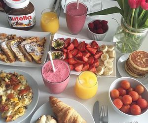 food, breakfast, and nutella image