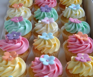 colors, cupcakes, and food image