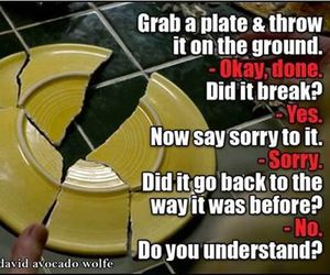 broken, plate, and sorry image