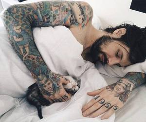 tattoo and men with cat image