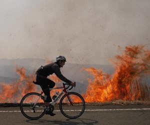 cycling, triathlon, and fire image