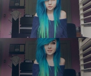 hair, blue hair, and scene image