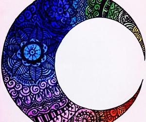 mandala, colors, and moon image