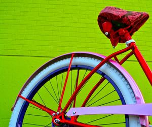 bike, blue, and pink image
