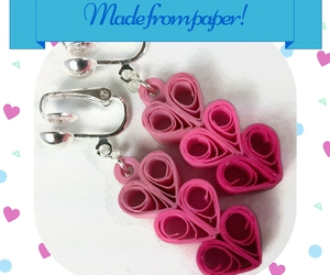 pink hearts, heart jewelry, and clip on earrings image