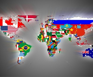 world, flag, and map image