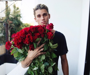 boy, rose, and flowers image