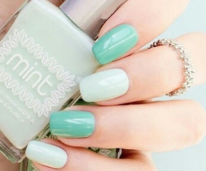 nails, mint, and nail art image