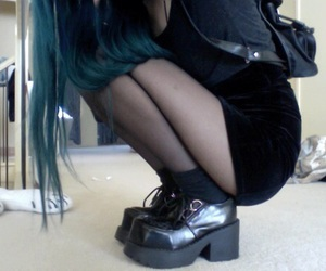 blue, creepers, and girl image