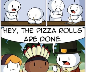 thanksgiving, pizza rolls, and funny image