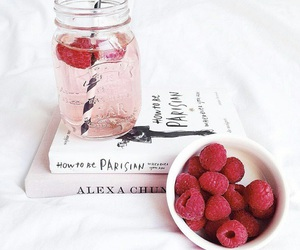 book, pink, and food image