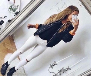 black, boots, and blond hair image