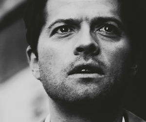 black and white, misha collins, and supernatural image