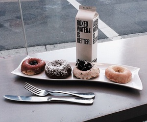 food, donuts, and water image