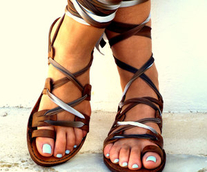 barefoot, flat sandals, and etsy image