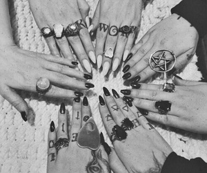rings, tattoo, and black image