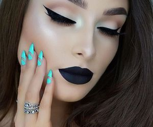 makeup, nails, and black image