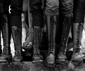boots, black and white, and shoes image