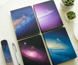 galaxy, notebook, and stars image