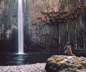 girl, indie, and waterfall image
