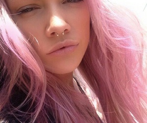 pink, girl, and piercing image