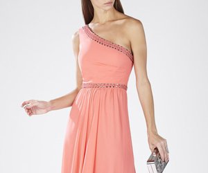 bcbg evening dress, bcbg red carpet dress, and bcbg one shoulder dress image