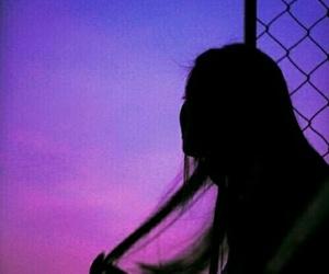 girl, purple, and grunge image