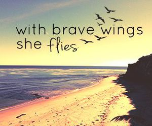quote, beach, and brave image