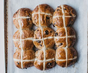 bread, easter, and hot cross bun image